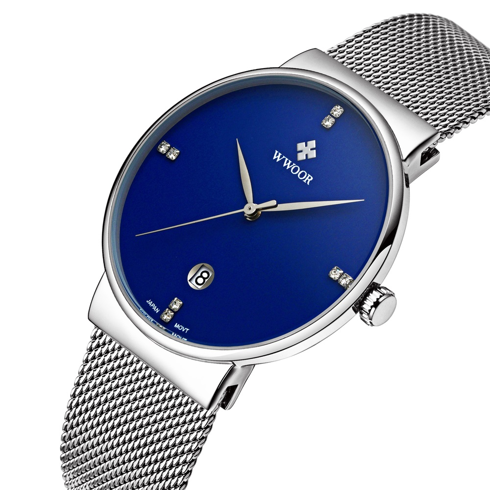 2017 Famous Brand WWOOR Watches Men Stainless Steel Mesh Band Fashion Analog Quartz Watch Ultra Thin Blue Dial Clock Male 8018 new fashion top luxury brand wwoor watches men quartz watch stainless steel mesh strap ultra thin dial clock relogio masculino