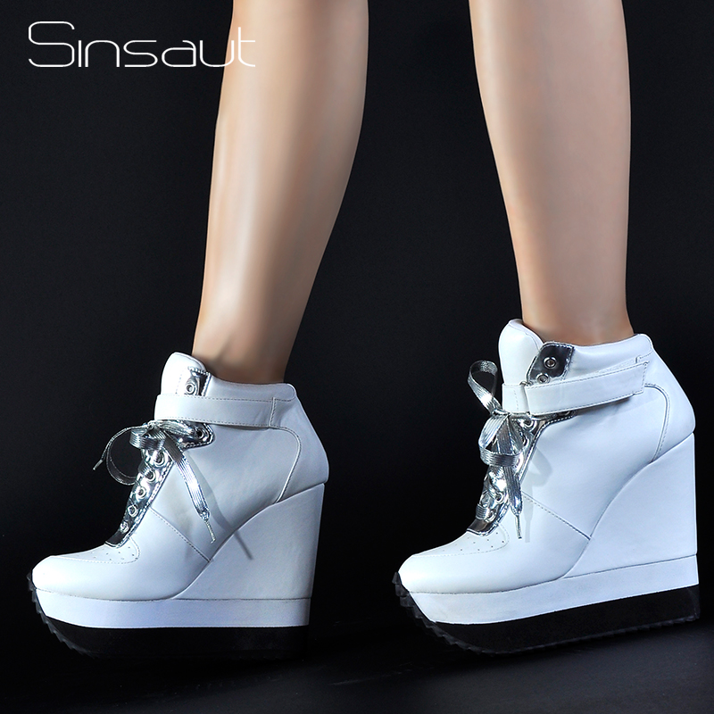 Sinsaut Casual รองเท้าผู้หญิงรองเท้าส้นสูงรองเท้า Lace Up ข้อเท้าความสูงเพิ่มผู้หญิง Wedge รองเท้าผ้าใบ Chaussure Femme-ใน รองเท้าส้นสูงสตรี จาก รองเท้า บน   1