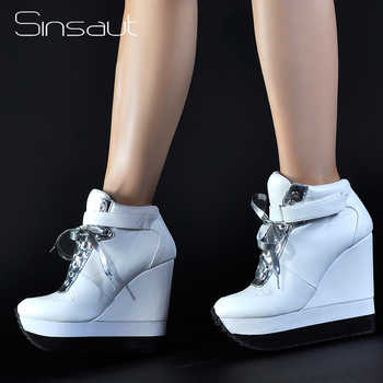 Sinsaut Casual Shoes Women High Heels Platform Shoes Lace Up Ankle Strap Height Increase Women Wedge Sneakers Chaussure Femme - DISCOUNT ITEM  50% OFF All Category