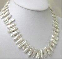 Fashion Nature White Biwa Pearl Necklace 18 Lovely Women's Wedding Jewelry Pretty