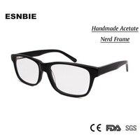 High Quality Nerd Glasses Black Frame Men Clear Lens Handmade Acetate Oculos De Grau Womens Mens