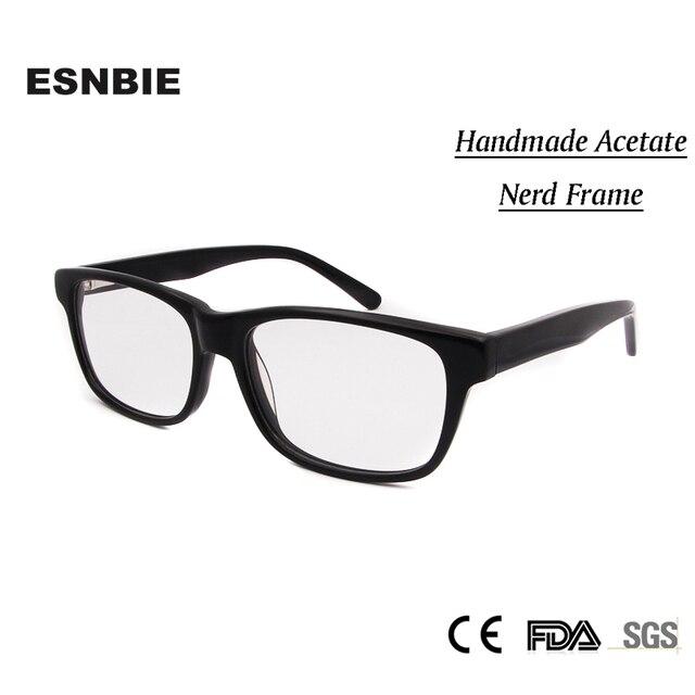 d172e0738aa High Quality Nerd Glasses Black Frame Men Clear Lens Handmade Acetate  oculos de grau Womens Mens Unisex Prescription Eyewear