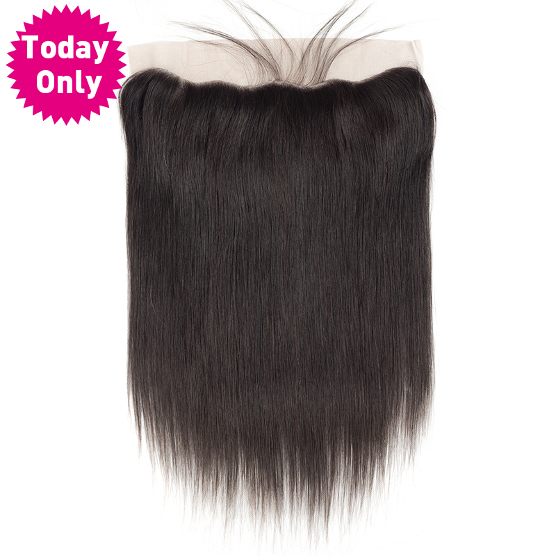 TODAY ONLY Brazilian Straight Hair 13X4 Ear to Ear Lace Frontal Closure With Baby Hair
