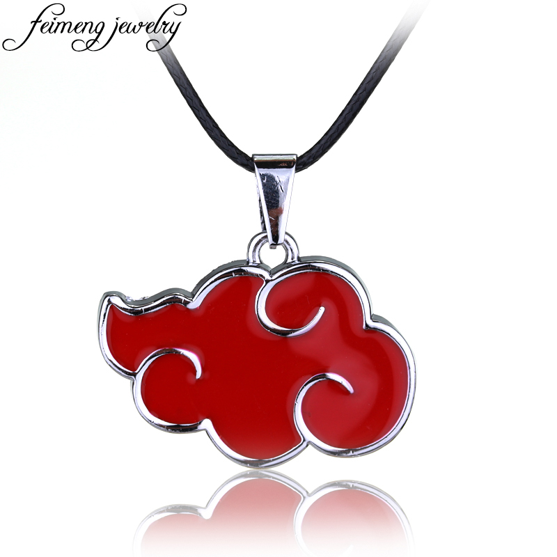 Classic Anime Naruto Necklace Akat Member's Logo Red Cloud Pendant Necklace For Women Men Fashion Jewelry Accessories