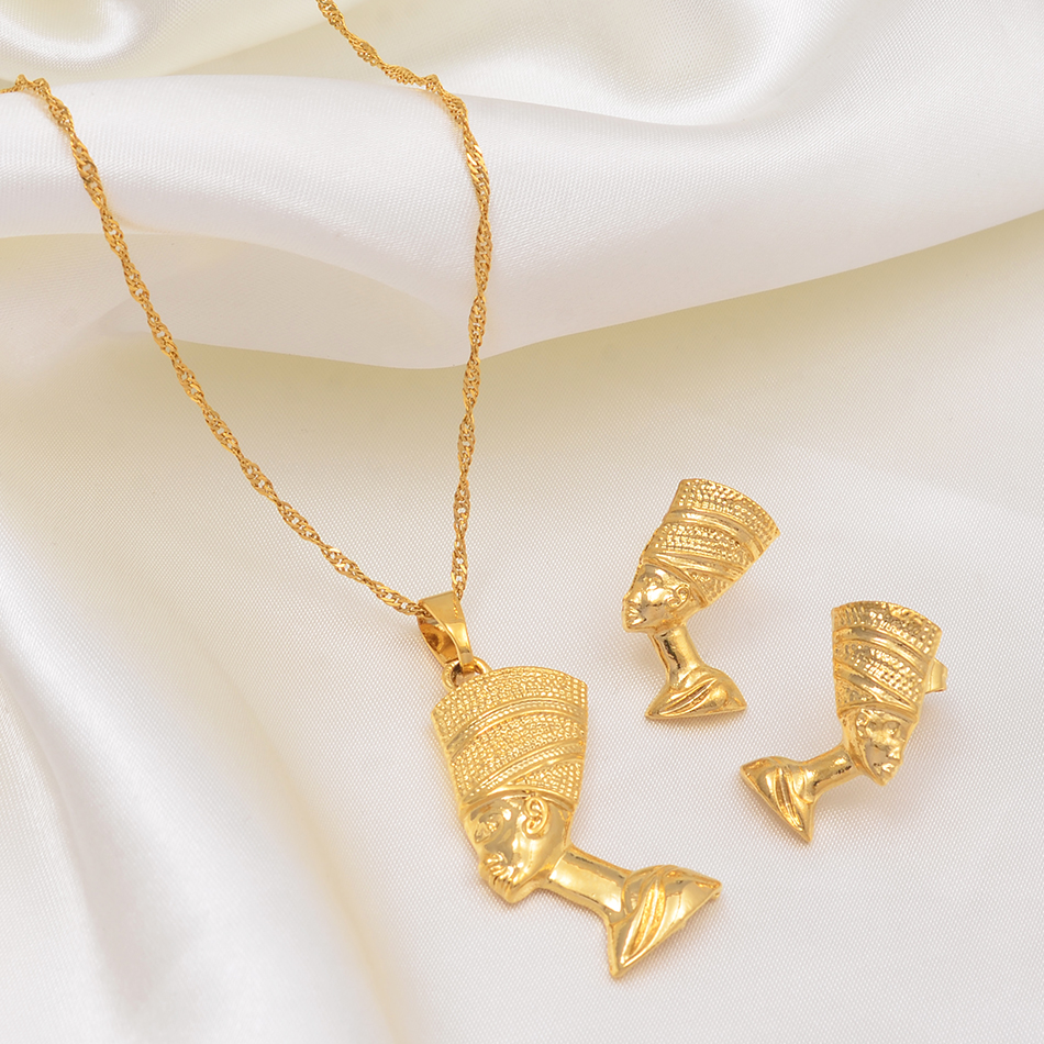 Anniyo Egyptian Queen Nefertiti Pendant Necklace & Earrings Sets Jewelry Gold Color Wholesale Gold Jewellery Gifts #010006