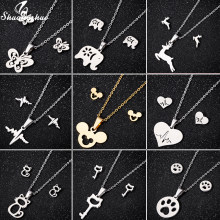 Shuangshuo Stainless Steel Mickey Necklace Silver Pendants Necklaces for Women Choker Animal Deer Butterfly Collar Jewelry femme(China)