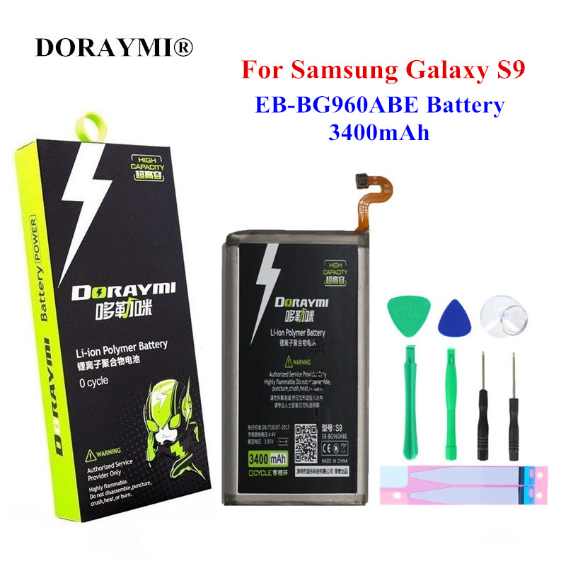 DORAYMI 3400mAh EB-BG960ABE Battery For Samsung GALAXY S9 G9600 G960F SM-G960 Li-ion Polymer Phone Replacement Batteries Bateria