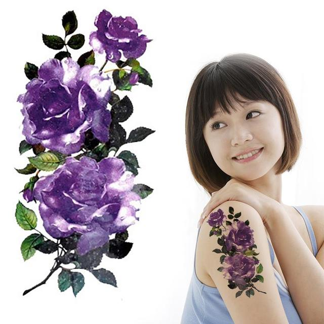 Ice Purple Flower Tattoo Designs Rose Temporary Tatoo For Women