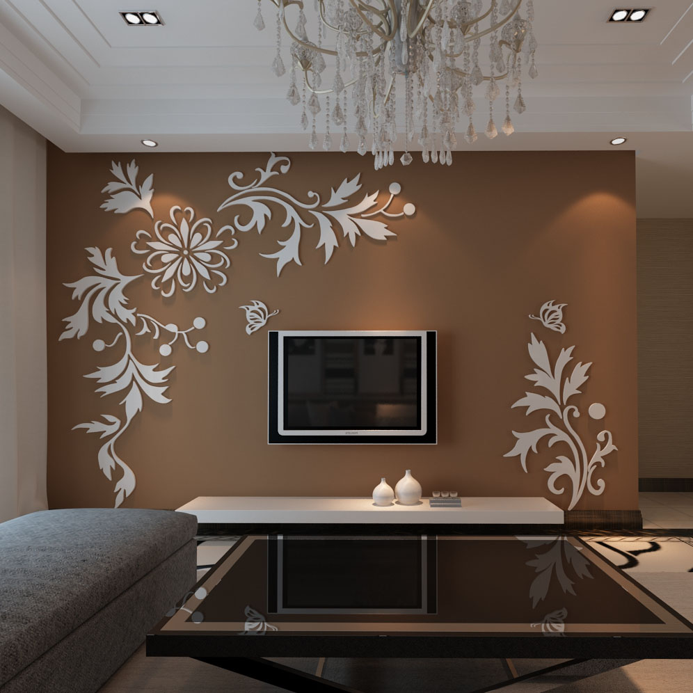 New arrival Phalaenopsis stereo television wall stickers 3D Acrylic sofa furnishings wall stickers Candy color