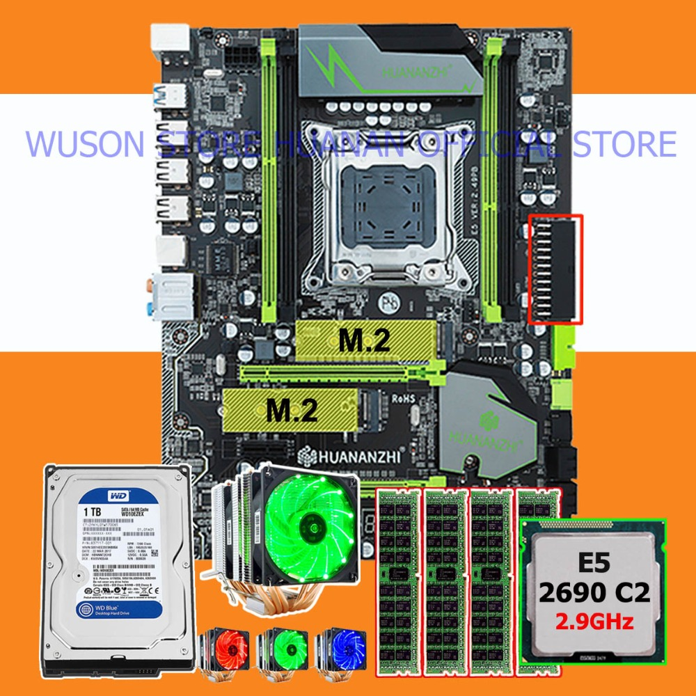 Discount HUANANZHI X79 Pro Motherboard Bundle Dual M.2 Slot CPU Xeon E5 2690 2.9GHz 6 Tubes Cooler RAM 32G(4*8G) 1TB SATA3.0 HDD