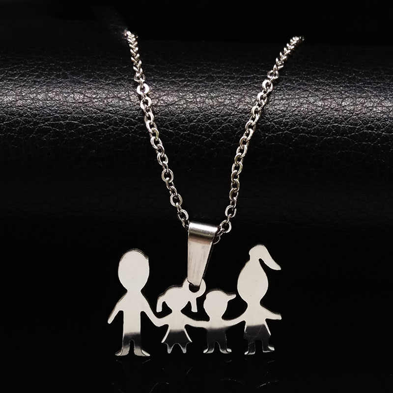 Doll Mama Girl Boy Silver Color Stainless Steel Necklaces For Kid Family Necklace for Women Jewelry collares joyeria N67193B
