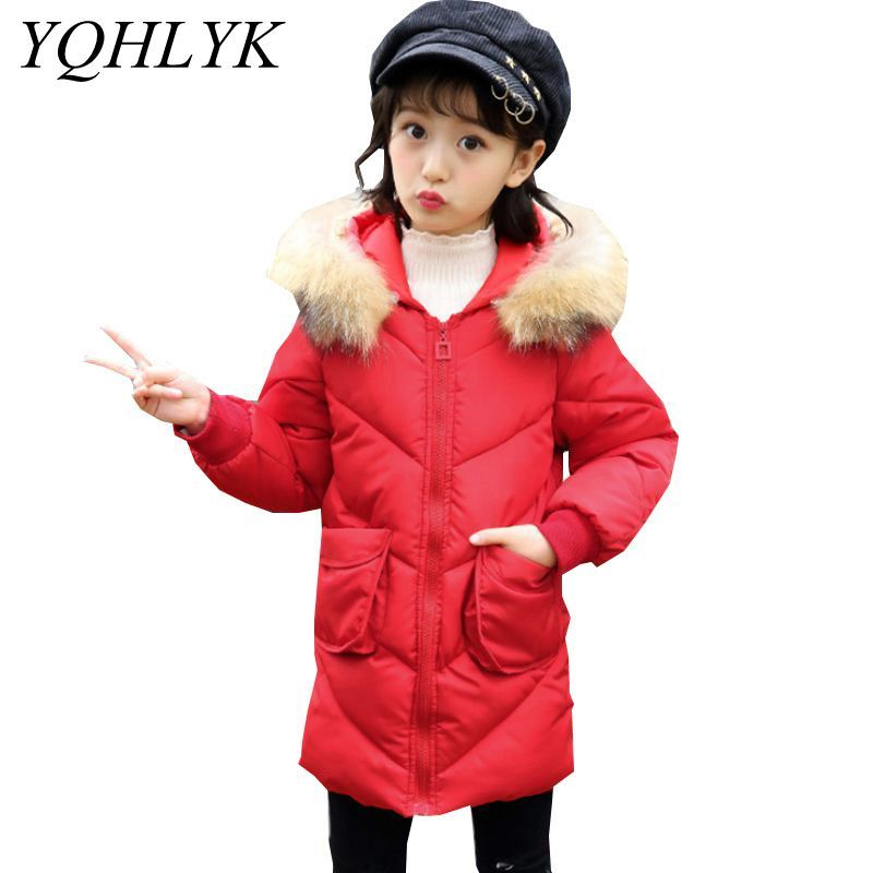 New Fashion Winter Cotton Girls Coat 2018 Children Long Sleeve Zipper Hooded Thick Warm Jacket Sweet Casual Kids Clothes W146 2018 new style casual warm long sleeve ladies basic coat jaqueta feminina fashion jacket women parkas cotton lady winter jacket