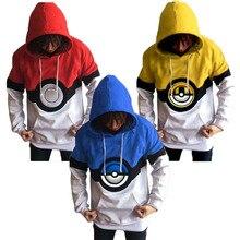 Anime Pokemon 3D PokeBall Women Men Hoodies Cute Pikachu Cosplay Costume Jacket Coat Outwear Hooded Cotton Poke Ball Sweatshirts