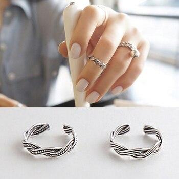 267b7acd8134 925 joyería de plata esterlina paja torcedura anillo del dedo del pie  abierto estilo Vintage para mujeres hermosas baratos anillos de la cola