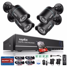 SANNCE 8CH HD 720P CCTV System 1080N CCTV DVR 4PCS 720P 1280TVL CCTV Security Cameras Night Vision Surveillance Kit 1TB HDD