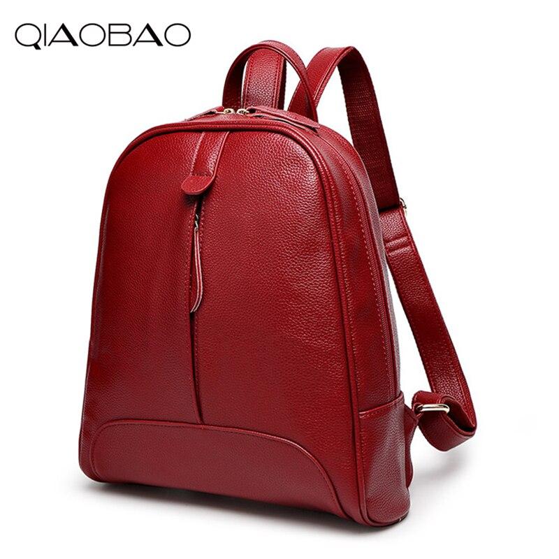 QIAOBAO 2019 Fashion Women Backpack Genuine Leather Zipper Bag For Girl Summer Style Female Designer Backpack Bolsas