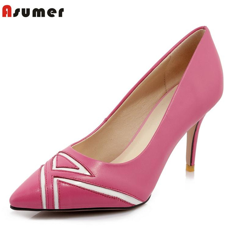 ФОТО popular stiletto high heels pointed toe genuine leather female office lady women pumps summer new arrive dress shoes party