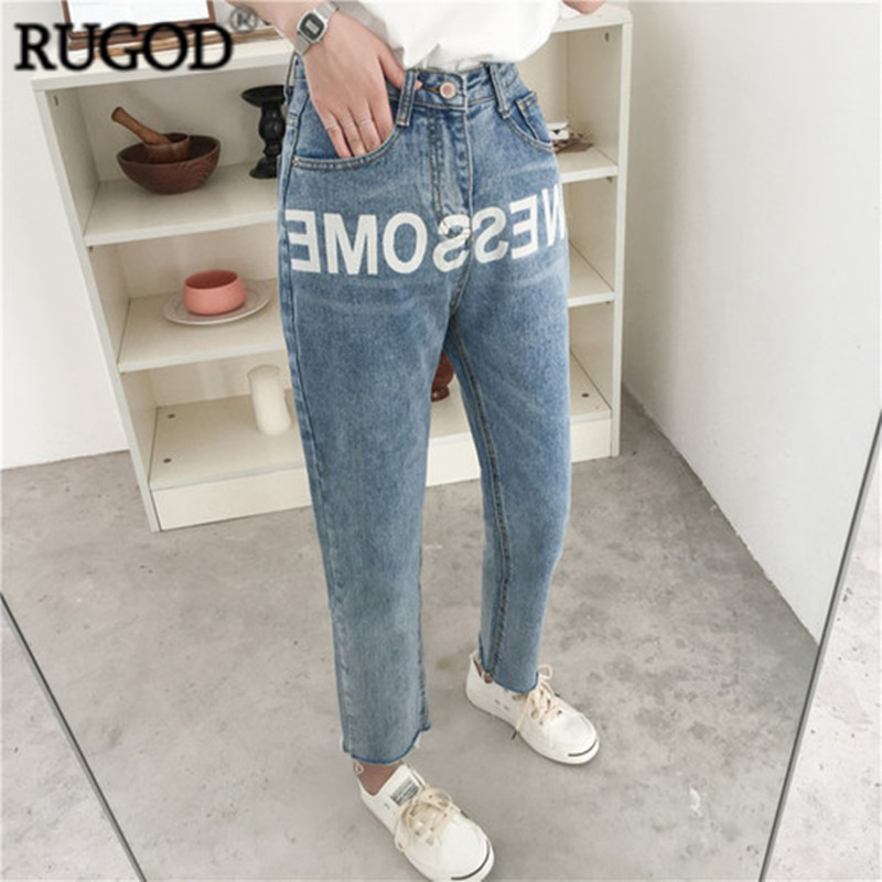 RUGOD Fashionable Hot Sale Loose Jeans For Women Cotton Knitted Ankle-length Pants For Girls Trousers Women's Bottoms 2019