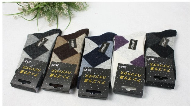 Commercial classic male wool socks comfortable casual socks thickening thermal knee-high socks