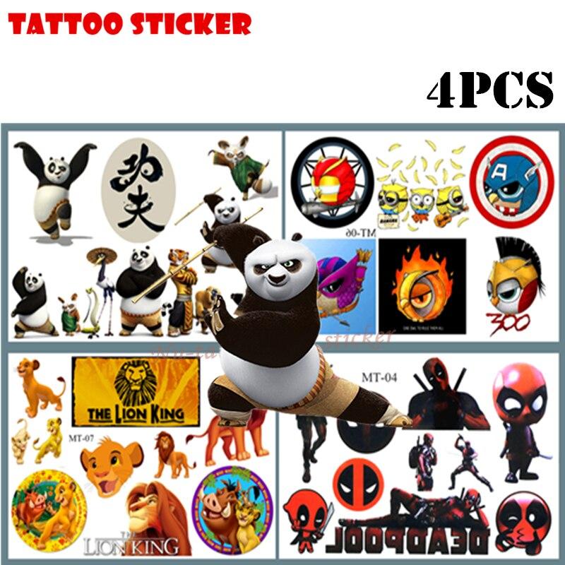 Nu-TATY Cute Cartoon Kung Fu Panda Child Temporary Tattoo Body Art Flash Tattoo Stickers 17*10cm Waterproof Home Decor Styling