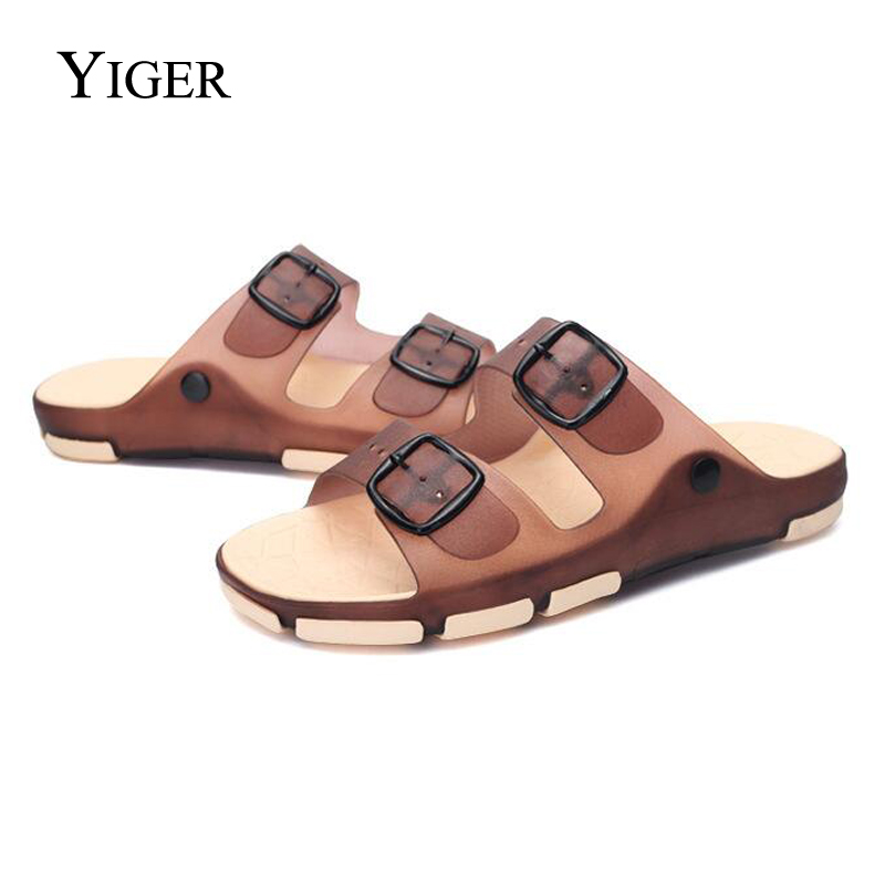 YIGER NEW Men's Cool Slippers Men's Beach Slippers Jelly Shoes Fashion Outdoor Shoe Casual Stripes Sandals Summer Fashion  0049