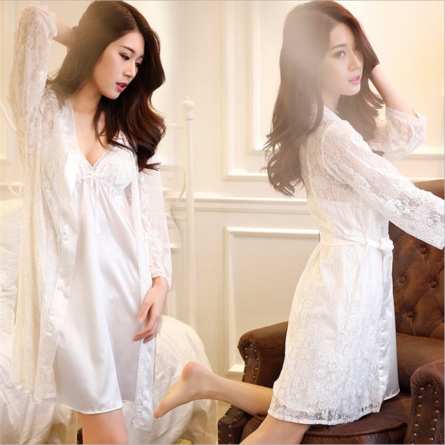 Europe United States High-end Sexy pajamas women Summer lace Sling skirt Two-piece suit Lace transparent robe charming