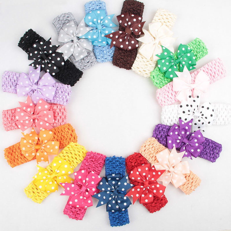 24 Colors Fashion 1pc Kids Cute Lovely Bowknot Headband Wave Point Hair Band Hair Accessories jaycosin bowknot headband hair accessories girl headband cute hair band newborn floral headband s16 drop shipping