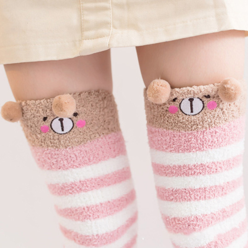267bb54fe Cartoon Animal Coral Fleece Socks Female Thickening Terry Warm Stocks  Winter Casual Home Long Thigh High Socks For Girls-in Socks from Mother    Kids on ...