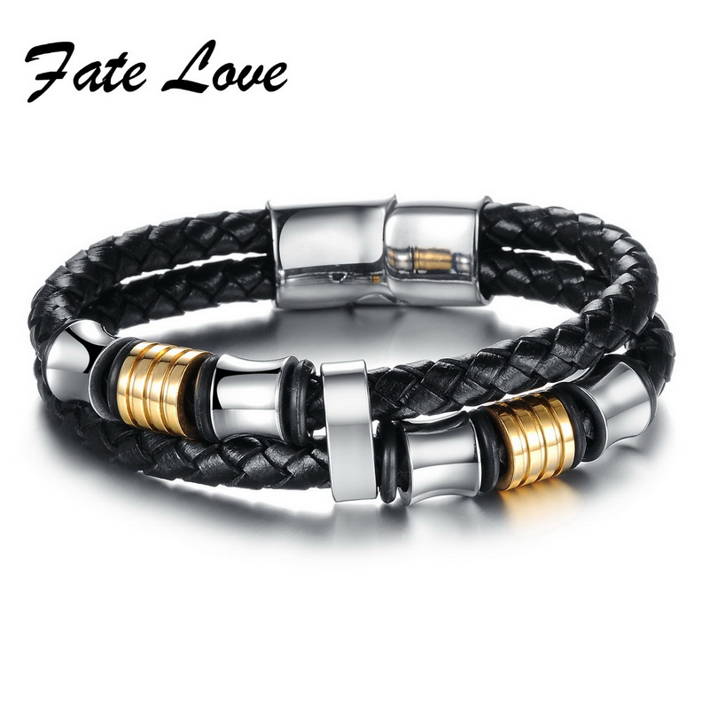 Fate Love High Quality Punk Double Layer Cowhide Bracelets Handmake Weave Magnetic buckle Man Wristband Fashion Jewelry FL887