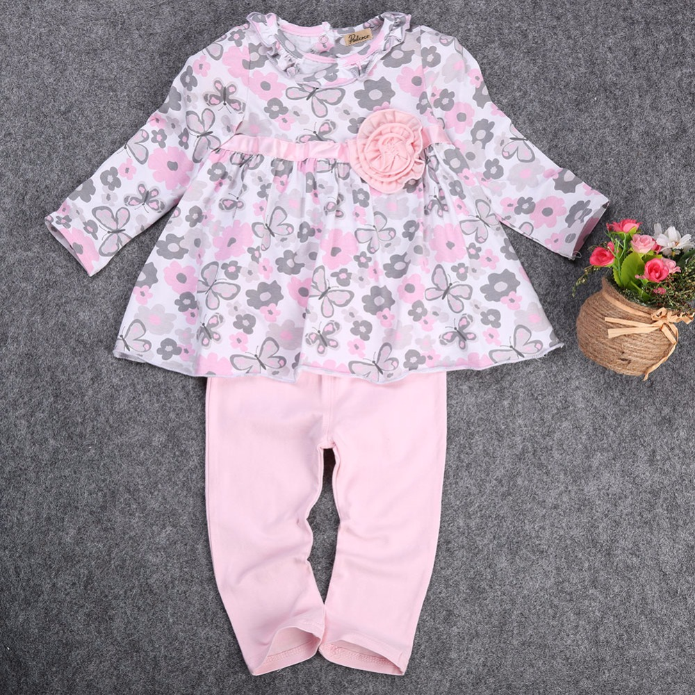 965be4c65b75d Nouveau 12 18 24 Mois Floral Peplum Dress + Pantalon Outfit Bébé Fille  Vêtements Set 2 PCS