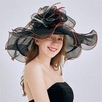 Mingli Tengda 2019 New Folding Women Hat Wedding Elegant Organza Bridal Hats with Flower Summer Beach Hat chapeaux mariage