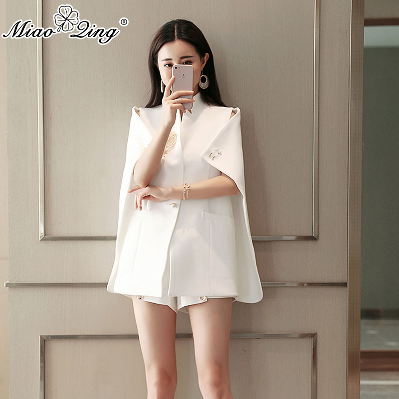 MIAOQING 2018 Causal Office Clothes Suit For Women Pluvial Pearl Decoration Elegant Lady Office Wear Coat Short Set Clothing