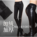 hot sale Ladies PU stitching stitching buttons Plus velvet pencil pant,  E511 8225