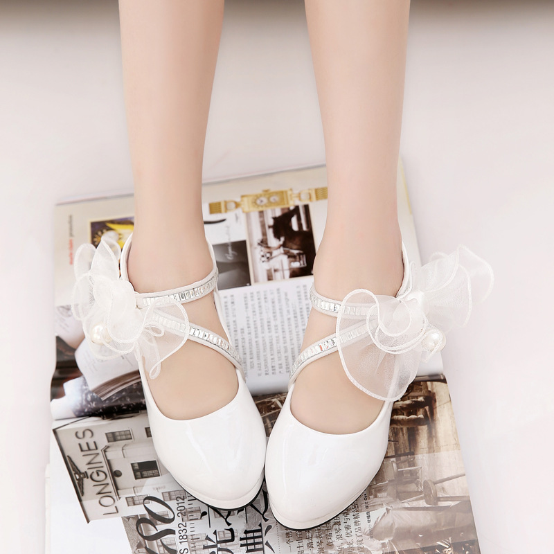 Children Shoes Girls Pump High Heeled Flower Pearl Girls Party Wedding Shoes Platform Princess Kids Dress Shoes White  TX467