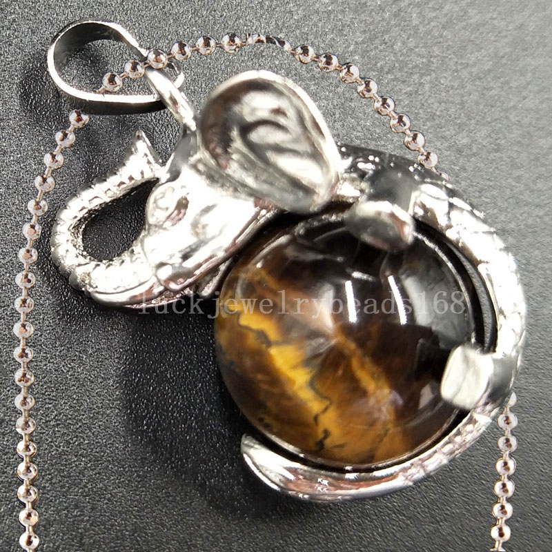 Free Shipping Women Fashion Jewelry Tigers Eye Ball Elephant Art Necklace With Chain 1pcs C5550n