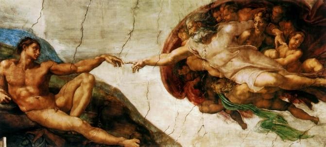 Otisci na platnu Michelangela (Stvaranje Adama) poznate uljane slike - Kućni dekor - Foto 1