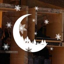 Снежный месяц, Электростатическая Наклейка на стену, окно, стекло, Рождество, сделай сам, наклейка s для дома, Рождественское украшение, новогодние обои