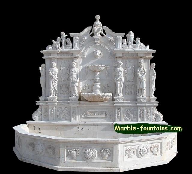 exterior pared de agua fuente de mrmol blanco tallado a mano estatua de piedra con ngel