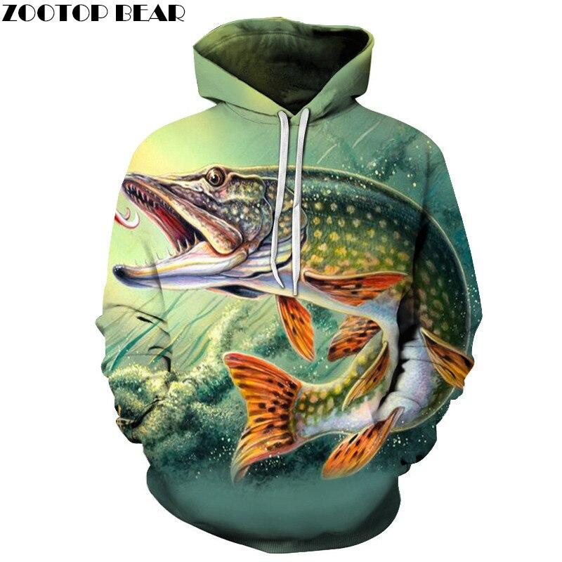 Fish Print Hoodies Seaworld 3D Men Tracksuits Sweatshirt Unisex ZOOTOP BEAR Brand Drop Ship Long Sleeve Pullover Summer