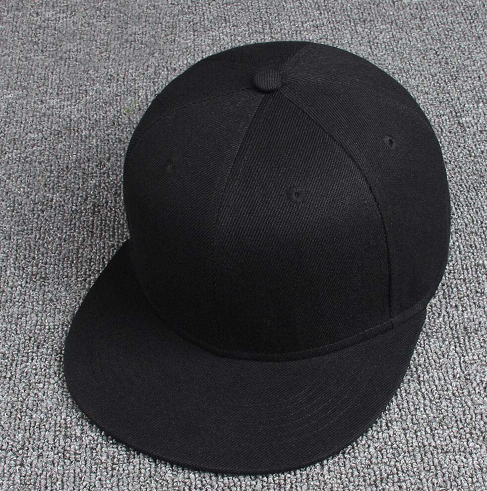 e34da3a223d 10pcs Children Black Flat Bill Snapback Hats Spring Summer Boys Girls Plain  Snap Back Caps Kids