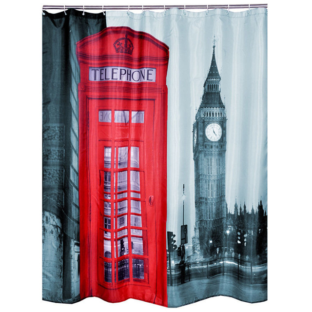 European Style Bathroom Waterproof Scenic Pattern Red Phone Box London Big  Ben Shower Curtain Home Bathroom