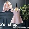 Дети хлопок одежда набор девочка моды с длинным рукавом Шерстяное пальто + твердые рукавов dress 2 шт. костюм дети держать теплая одежда