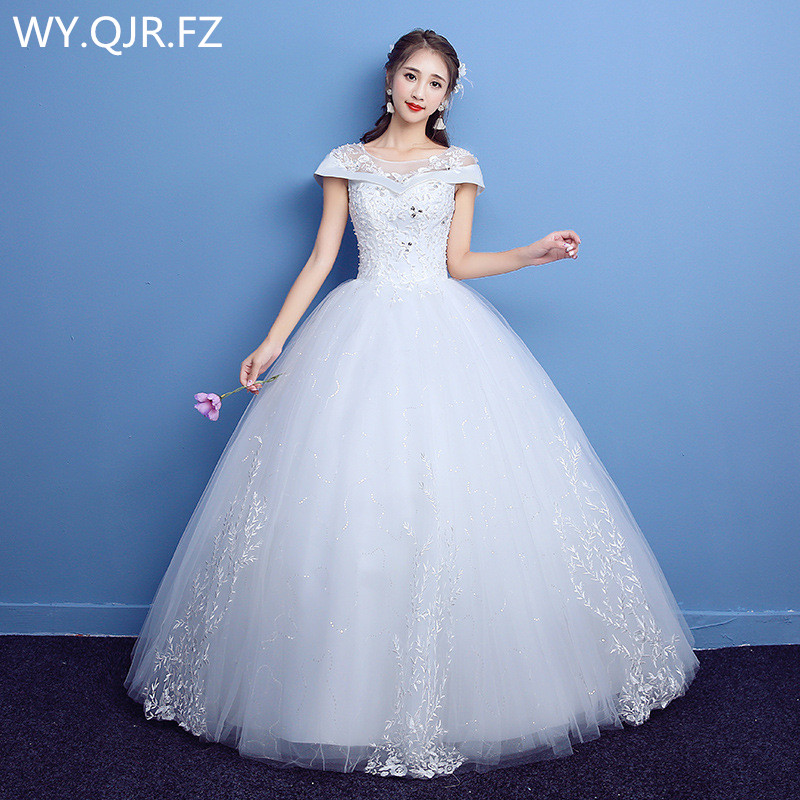 LYG-D06#O-Neck Artificial Diamond Lace Up Wedding Party Dress 2019 Prom Gown Summer New Bridesmaid Dresses Wholesale Custom