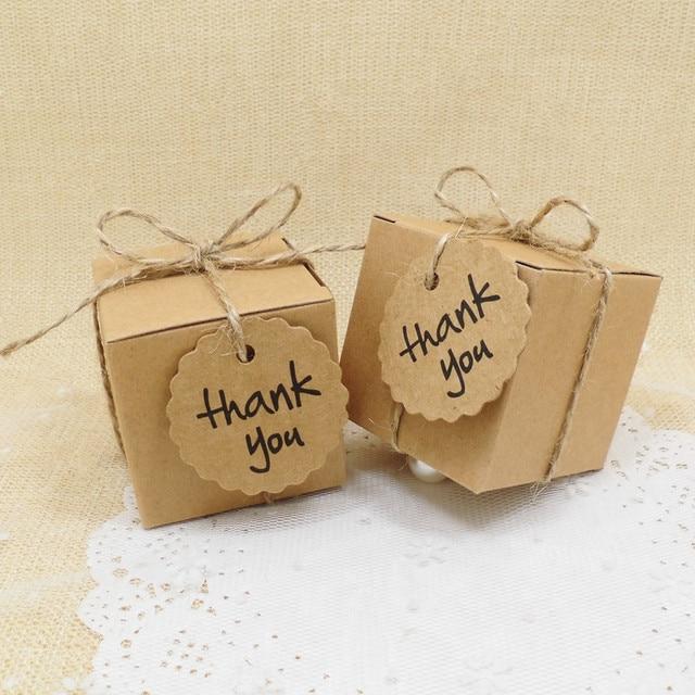 30pcs Lot Kraft Paper Candy Box Hemp Rope Thank You Gift Tags Vintage