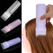 Pusta butelka do farbowania włosów z pędzel aplikatora dozujący farbowanie włosów jak w salonie butelki do farbowania fryzjerstwo urządzenie do stylizacji 120ML