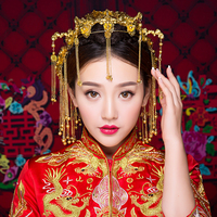Vintage Chinese Traditional Wedding Hair Jewelry Gold Color Hair Accessories Queen Hairpins Phoneix Coronet Hairwear Earrings