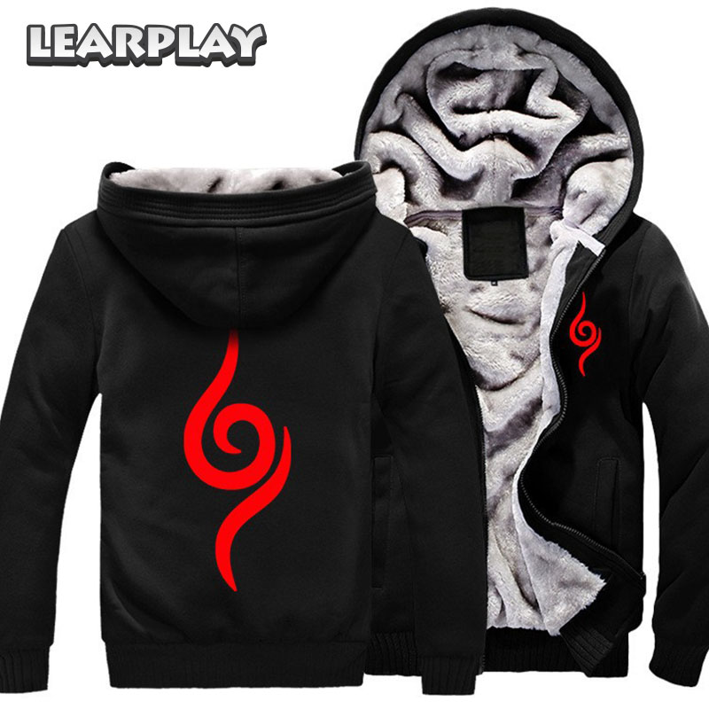 Men Winter Hoodies Anime Naruto Hoodie Cosplay Costume Black Coat Autumn Sweatshirt Adults Fleece Outwear Halloween Uniform