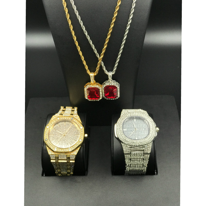 Luxury Men Gold Watch Hip Hop Watch & Red Ruby Necklace Combo Set Ice Out Cuban Chain Pendant Set Bling Rapper Hip Hop Jewelry