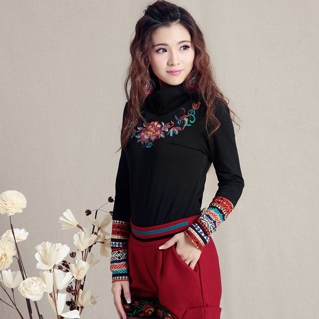 feda06b984d 2018 turtleneck embroidery pullovers ethnic long-sleeve shirt women s basic  t-shirt Mexican red black top