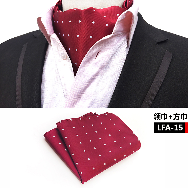 Formal Scarf-Set Silk-Scarves White Men Dot With To Match-Suits Burgundy